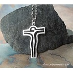 Surreal Crucifix Necklace, Everyday Silver Christian Jewelry