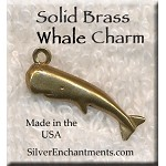 Solid BRASS Whale Charm