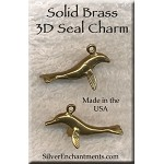Solid BRASS Seal Charm, 3D