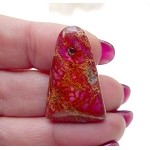 Pink Sea Sediment Jasper Cab, Cathedral Pyramid Cabochon, 30x20mm
