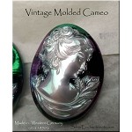 Vintage Cameo, Victorian Lady Pearlized with Peacock Iris Finish
