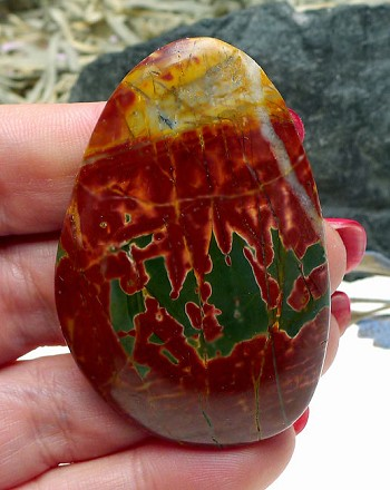 Large Freeform Cab for Wire-Wrapping Natural Red Creek Jasper Gemstone Cabochon 56x37.5x8mm