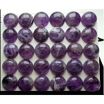 Amethyst Cabochon, Calibrated Coin Amethyst Cab, 14mm