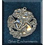Sterling Silver Angels Pendant, Kissing Large