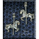 Sterling Silver Carousel Horse Pendant, 3D 30x20mm
