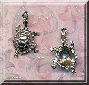 Sterling Silver Turtle Charm-Pendant, Dimensional Crawling