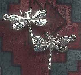 Sterling Silver 3D Dragonfly Charm, 23x27mm