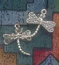 Sterling Silver 3D Dragonfly Charm, 23x20x8mm