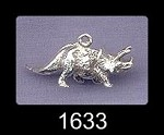 Sterling Silver Dinosaur Charm, 3D Triceratops