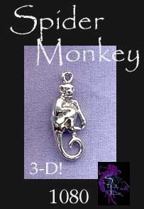Sterling Silver Monkey Charm, 3D Spider Monkey