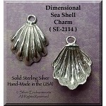 Sterling Silver Dimensional Sea Shell Charm, Sea Shell Jewelry