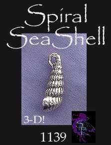 Sterling Silver Seashell Charm, 3D Spiral