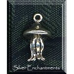 Sterling Silver 3D Jellyfish Charm