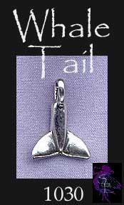 Sterling Silver Whale Tail Charm, Bailed