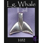 Sterling Silver Large Whale Tail Pendant, Large