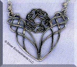 Sterling Silver Celtic Love Knot Necklace Y Centerpiece