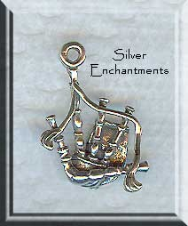 Sterling Silver Bagpipes Charm, 3D Scottish Bag Pipes