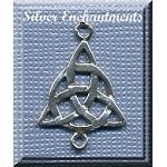 Sterling Silver Triquetra Dangler Connector Pendant, Celtic Jewelry Supply, 25x17mm