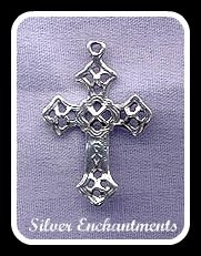 Sterling Silver Cross Pendant with Celtic Motif