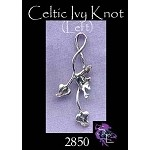 Sterling Silver Celtic Ivy Pendant, 33x13mm Ivy Necklace, Ivy Jewelry