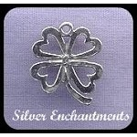 Sterling Silver Shamrock Pendant, 4-Leaf Clover of Hearts