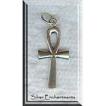Sterling Silver Ankh Pendant, 26x12mm