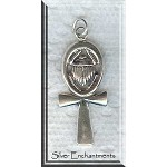 Sterling Silver Ankh with Scarab Pendant