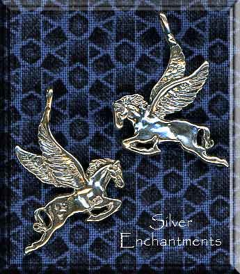 Sterling Silver Pegasus Pendant, Bailed Double-Sided