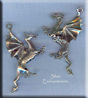 Sterling Silver Dragon Pendant, 3D