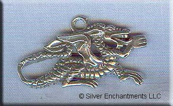 Sterling Silver Fantasy Dragon Pendant