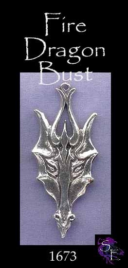 Sterling Silver Large Fire Dragon Pendant