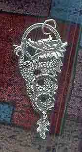 Sterling Silver Large Curling Dragon Pendant
