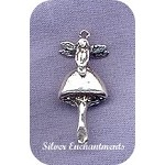 Sterling Silver Fairy Charm, Fairy on Mushroom Jewelry