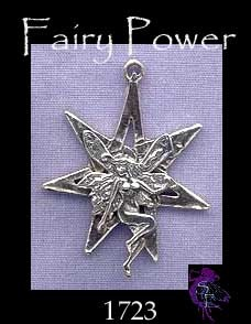 Sterling Silver Fairy on 7-pointed Fairy Star Pendant