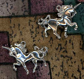Sterling Silver 3D Unicorn Charm, 22x16mm