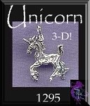 Sterling Silver Unicorn Pendant, Bailed 3D Prancing