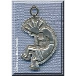 Sterling Silver Large Kokopelli Pendant, Southwestern Kokopelli Jewelry, 39x22mm