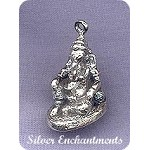 Sterling Silver Ganesha, 3D Lounging Ganesh Pendant - Hindu Lord of Success Destroyer of Obstacles