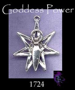 Sterling Silver Star Goddess Pendant, Septagram with Goddess