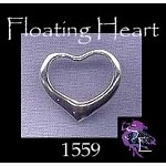 Sterling Silver Heart Charm-Pendant, Floating Heart