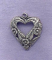 Sterling Silver Heart Pendant, Flowers and Leaves Heart Necklace