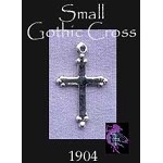 Sterling Silver Small Gothic Cross Charm, 20x12mm