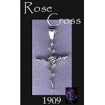 Sterling Silver Rose Cross Pendant, Bailed Rose Cross Jewelry