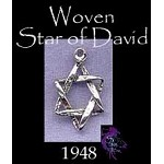 Sterling Silver Woven Star of David Charm, Jewish Star of David Jewelry