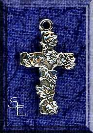 Sterling Silver Ivy Cross Charm