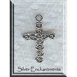 Sterling Silver Rose Cross Charm