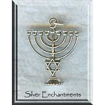 Sterling Silver Menorah Pendant, Menorah with Star of David Necklace, Jewish Jewelry