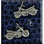 Sterling Silver Motorcycle Charm, 3D