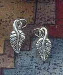 Sterling Silver Leaf Charm, Double Sided 3D Leaf Jewelry