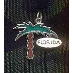 Sterling Silver Palm Tree Pendant, Enameled Florida Palm Tree Jewelry